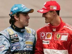 Michael Shumacher junto al piloto español Fernando Alonso