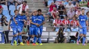 Los jugadores del Getafe celebran el gol que les dio la victoria esta temporada frente al Almería