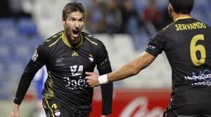 Nino Ibarra celebrando un gol en Segunda A